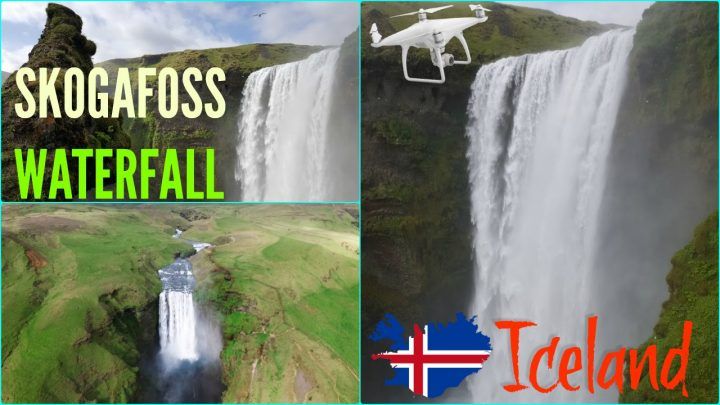 Skogafoss waterfall Iceland drone aerial-World Drone (17 215 votes)