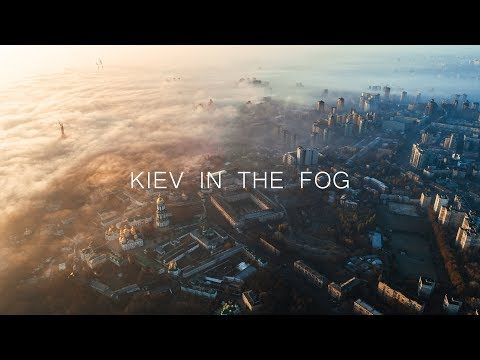 Kiev in the fog by the drone