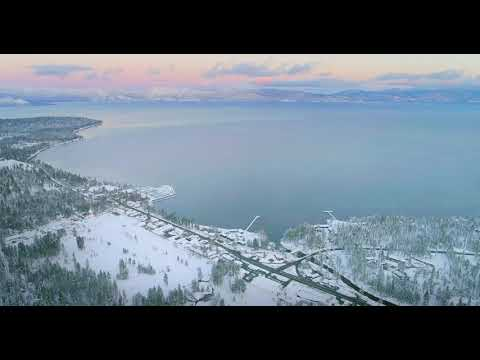 Tahoe City Sunset after Snow Storm 4K