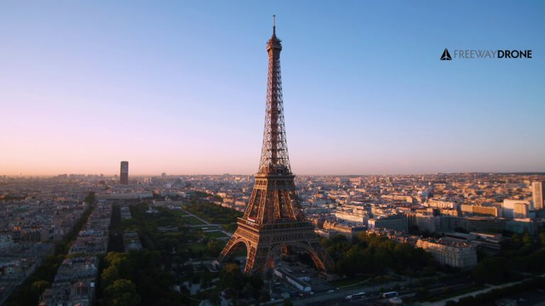 Eiffel Tower seen from a drone