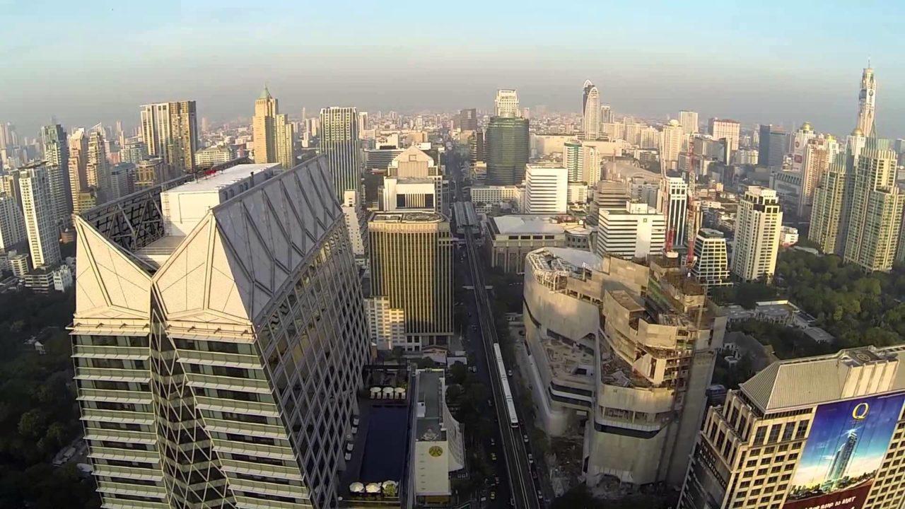 Bangkok center filmed by drone